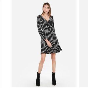 Express Striped Elastic Waist Ruffle Wrap Dress